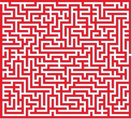 Illustration der rote Labyrinth isoliert auf weißem Hintergrund Illustration