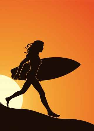 chica surf: Silueta de una chica con una tabla de surf en la playa en un formato
