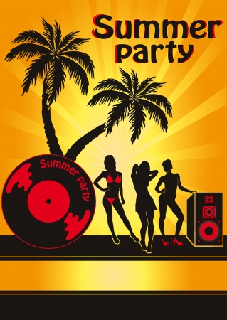 abstract dance: Summer Beach Party Vector Flyer Template