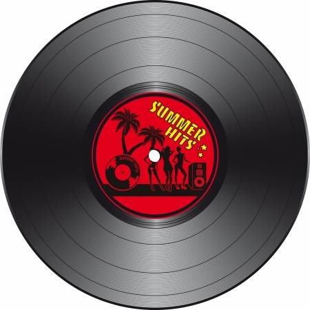 Vinyl record with summer hits label in vector format Illustration