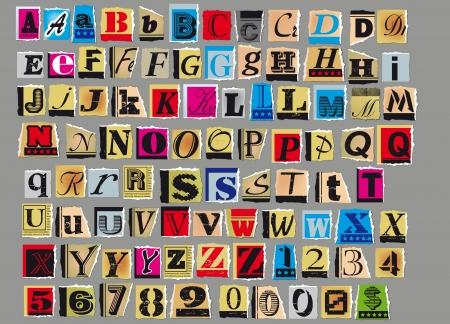 tipos de letras: Las letras y los n�meros recortadas de revistas y peri�dicos viejos aislados sobre fondo gris