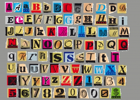 paper spell: Letters and numbers cut out from old magazines and newspapers Isolated on gray background