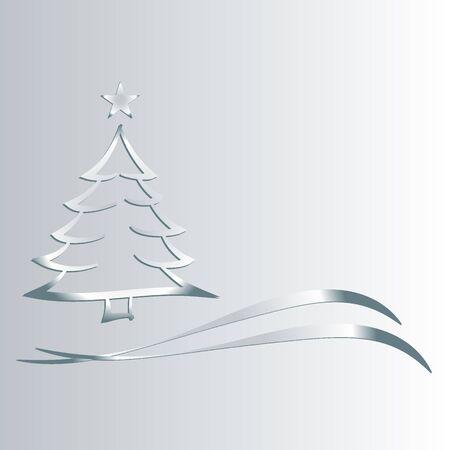 Albero di Natale con l'argento stern_310 Archivio Fotografico