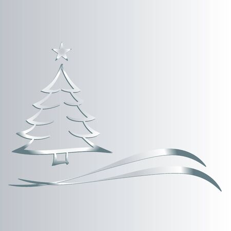 christmas motif: Christmas tree with silver stern_310 Stock Photo
