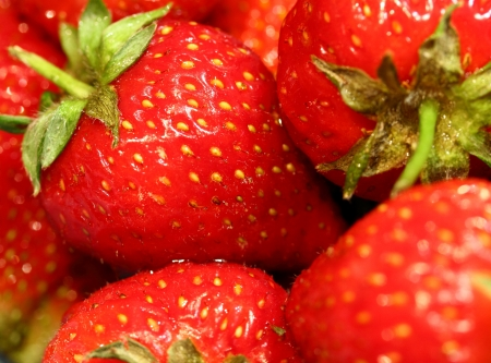 Group of Strawberries Close Up