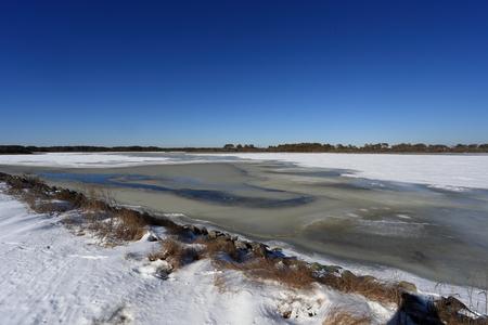 Icy Winter Snow Landscape at Chincoteague Island, VA