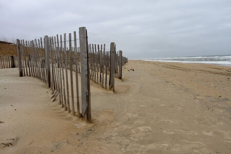 outer banks: Erosion fences on the beach of the Outer Banks, NC