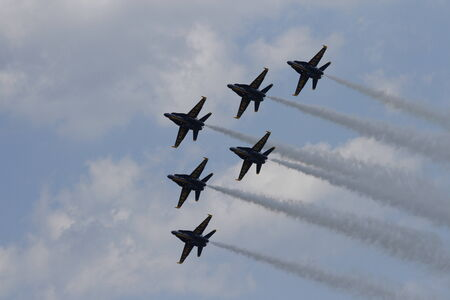 Airplanes Flying in formation at an airshow