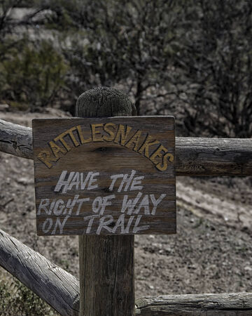Sign - rattlesnakes have right of way
