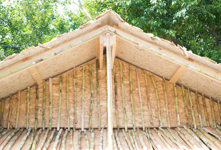 house gable: Gable of the house made from sugar cane trees