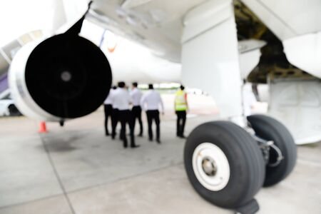 Blur of the A320 pilot training on landing gear for editorial
