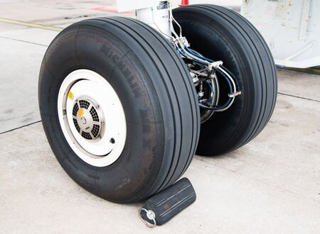 undercarriage: Thailand BKK airport - June 2015 : Aircraft, Airbus A320 nose wheels