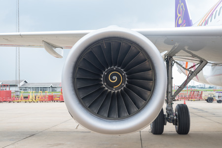 airbus: THAILAND - DONMUENG INTERNATIONAL AIRPORT September 11, 2015 : Thai smile aircraft Airbus A320, The right-side engine from Airbus A320 while parking at Donmueng international airport Thailand. Editorial