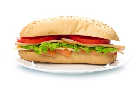 Big sandwich on white plate photo