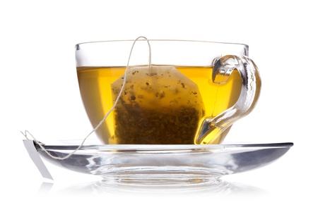 tea light: Cup of green tea isolated on white Stock Photo