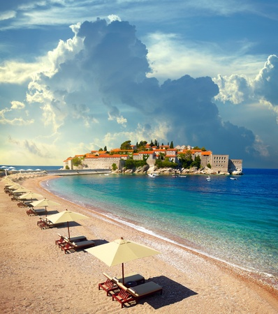 montenegro: Canvas chairs on the beach