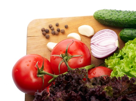 Fresh vegetables on wooden hardboard Stock Photo - 13681460