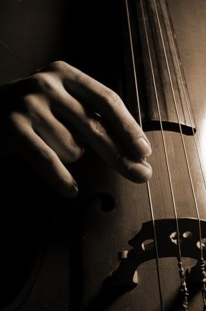 cellos: Musician playing contrabass