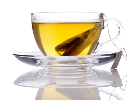sencha tea: Cup of green tea isolated on white Stock Photo