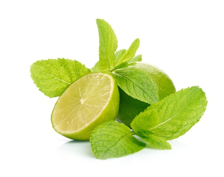 Limes and mint isolated on white background photo