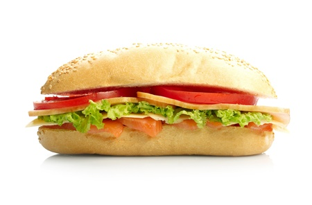 Big sandwich on white background photo
