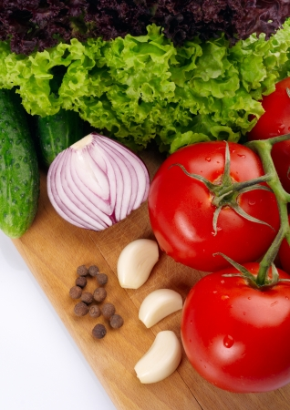 Fresh vegetables on wooden hardboard Stock Photo - 13698738