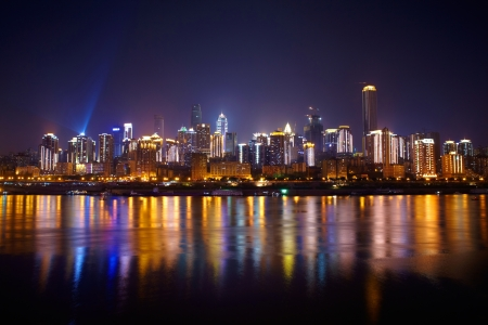 Skyscrapers reflecting in the river