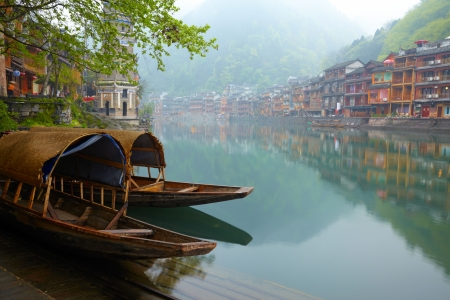 house float on water: Old Chinise traditional town