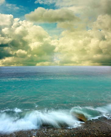 unspoilt: Summer landscape with sea and blue sky