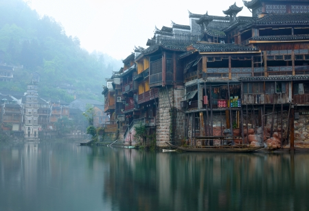 hunan: Old Chinese traditional town