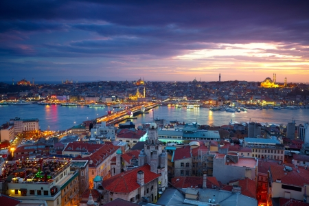 Istanbul Sunset Panorama Stock Photo - 15078159