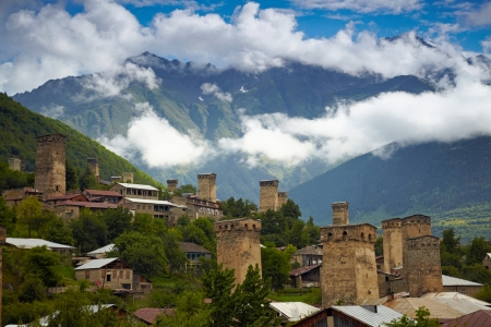 turrets: Svan towers in Mestia. Svaneti, Georgia Stock Photo
