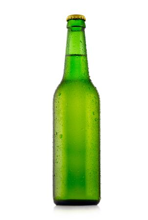 dewed: Bottle of beer with waterdrops. Isolated on white background