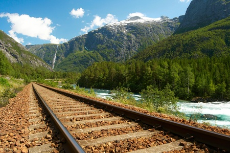 Railway in the mountains Stock Photo - 16985372