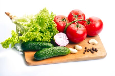 Fresh vegetables on wooden hardboard Stock Photo - 16984832