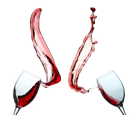 Two glasses of red wine with splash Stock Photo - 17196051