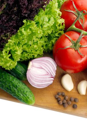 Fresh vegetables on wooden hardboard Stock Photo - 17196455