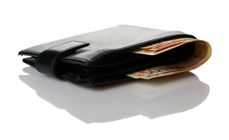 Wallet with euro banknotes isolated over white background photo