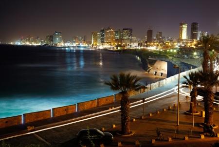 tel: Tel Aviv. Night view from Jaffa