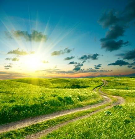緑の芝生、道路、劇的な空の夏の風景