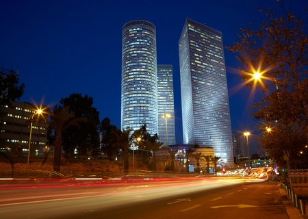 Tel Aviv night cityscape, Israel photo