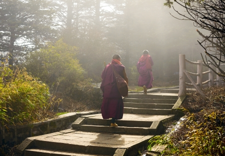 Sichuan, China -  APRIL 12:  Two monks climbing up to holy mountain Emei Shan