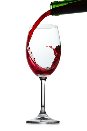 red wine pouring: Red wine splashing. Isolated on white Stock Photo