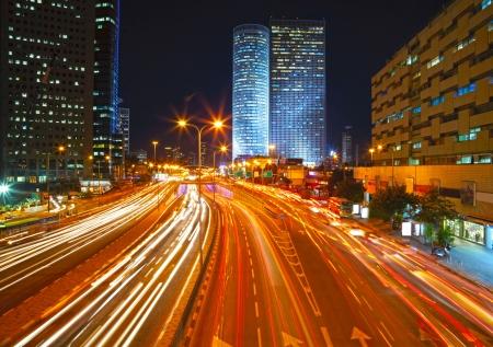 Night traffic jam photo