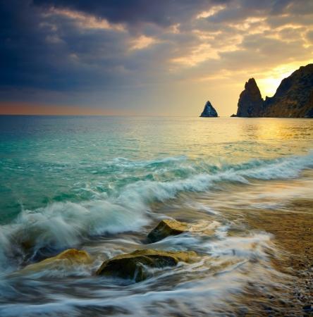 exposure: Sea sunset Stock Photo