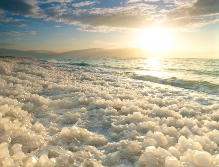 mineral salt: Sunrise at Dead Sea, Israel. Stock Photo