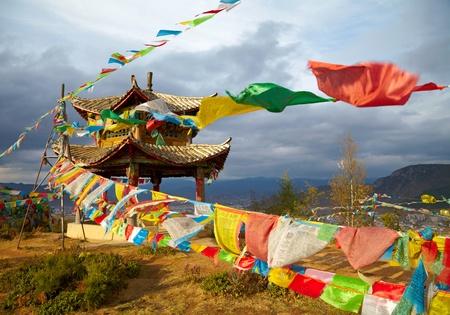monastery nature: Chinese pagoda. Tibet Stock Photo