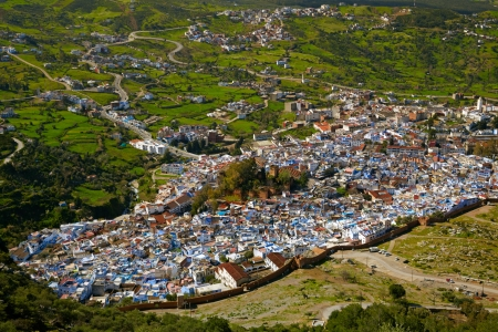 bird view: Chefchaouen blue town, Morocco. Bird view