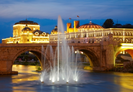 Macedonian's capital city Skopje. Old stone bridge Standard-Bild