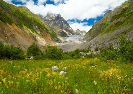 svaneti: Glacier in the mountains  Svaneti regoin, Georgia